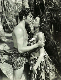 In the Pacific: Tyrone Power and Gene Tierney get even in Son of Fury.