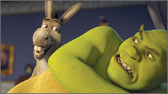 Fun yet familiar: Donkey, voiced by Eddie Murphy, and Shrek, voiced by Mike Myers, find themselves in more misadventures.