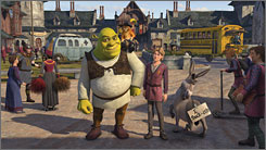They're back-eth: Shrek (voiced by Mike Myers), Puss (Antonio Banderas), Artie (Justin Timberlake) and Donkey (Eddie Murphy) have lots of company in Shrek the Third.