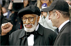 Sonny Rollins, left, and Steve Reich arrive at the Concert Hall in Stockholm on Monday to receive the 2007 Polar Music prize from Swedish King Carl XVI Gustaf.