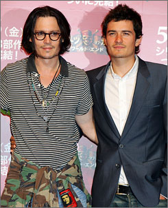 """It's been a great experience,"" Johnny Depp said, shown here with co-star Orlando Bloom. ""Trying to discover who Captain Jack was, getting slapped around by the Disney people  it was all fun."""