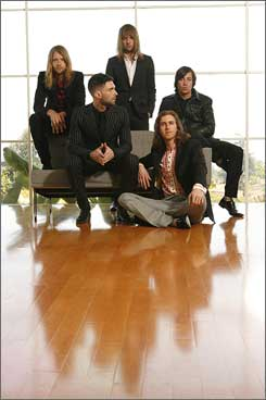 Independent mates: James Valentine, left, Adam Levine, Mickey Madden, Jesse Carmichael and Matt Flynn are out with Maroon 5's sophomore album, It Won't Be Soon Before Long.