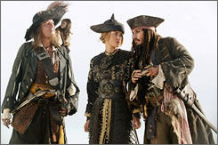 In AWE of pirates: Geoffrey Rush stars as Barbossa, Keira Knightley as Elizabeth and Johnny Depp as Jack Sparrow in At World's End.