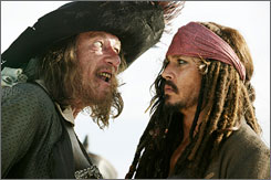 Sweet sailing?: Can Geoffrey Rush, left, and Johnny Depp keep the audiences coming?