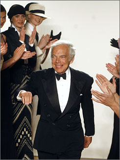 """Style icon"": Ralph Lauren enters the catwalk after a fashion show May 15 in Moscow."