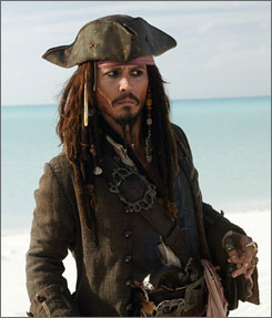 Pirates' Jack Sparrow (Johnny Depp) sports the look that launched a thousand bandannas.