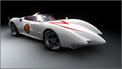 Revvin' up the powerful Mach 5: The car from the live-action version of Speed Racer is based on the one from the original cartoon, but with a more modern look.