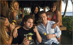 Ah, Hawaii: Jonah Hill, left, and Jason Segel on location during the filming of Forgetting Sarah Marshall, which Segel wrote.