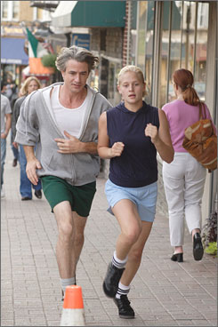 She's in soccer training: Dermot Mulroney plays the dad; Carly Schroeder, the daughter.