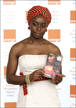 With her book Half of a Yellow Sun, Chimamanda Ngozi Adichie becomes the youngest author to win Britain's Orange Prize for fiction by women.