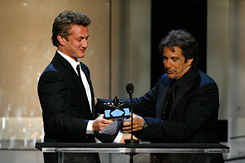 Al Pacino receives the AFI Lifetime Achievement award from Sean Penn, his co-star from 1993's Carlito's Way.