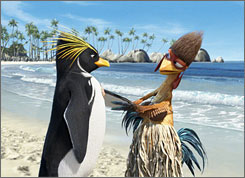 Birds on the beach: On his way to rule the waves, Cody Maverick (voiced by Shia La- Beouf), left, meets Chicken Joe (Jon Heder) in the documentary-style animated film.