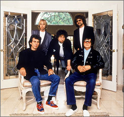 On the road again: George Harrison, Tom Petty, Bob Dylan, Jeff Lynne and Roy Orbison were the Traveling Wilburys. Rhino will release a CD/DVD package honoring the band.