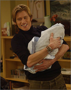 Proud papa?: Tommy (Denis Leary) holds his estranged wife's newborn on the fourth-season premiere Wednesday.