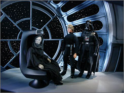This should be a blast: Emperor Palpatine, left, Luke Skywalker and Darth Vader get the Robot Chicken treatment.