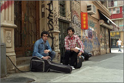 """Comedy series that makes love to your ears"": In Flight of the Conchords, New Zealanders Jemaine Clement,  left, and Bret McKenzie star as musicians  not much unlike themselves  looking for gigs and girls in New York."