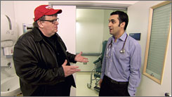 Just what the doctor ordered?: Michael Moore, left, compares medical care in the USA with that of other nations, including Cuba and Canada.