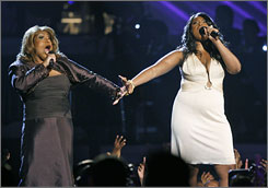 Sharing that song: Dreamgirls Jennifer Holliday, left, and Jennifer Hudson perform And I Am Telling You.