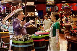 Greetings: Dustin Hoffman plays a 243-year-old toy-store owner, and Natalie Portman portrays the manager of his shop, in Mr. Magorium's Wonder Emporium. Hoffman's character looks a little odd, but he doesn't exactly look his age.