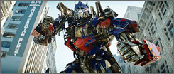 Wrangling robots: Optimus Prime leads the Autobots in the quest against the Decepticons for the power granted by the Allspark, which was hidden on Earth.