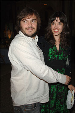 "Proud papa: Jack Black and his wife, Tanya Haden, have a son, Samuel, 1, who is on a ""sleep time"" schedule in L.A. while his dad is in New York."