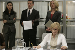 Playing Damages: Glenn Close is intimidating lawyer Patty Hewes in the FX series. Says Close: &quot;I don't think you'd ever see something like this on network TV, (where) you can't take as many risks.&quot;