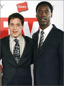 Back to work: Isaiah Washington lost his job on Grey's Anatomy because of a homophobic slur directed at co-star T.R. Knight, left.