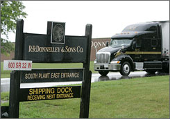 A truck leaves the R.R. Donnelley &amp; Sons Co. printing plant in Crawfordsville, Ind., the site rumored to be secretly printing Harry Potter books.