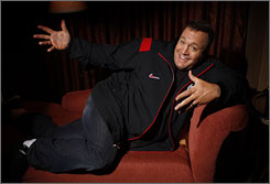 """""""Don't tell my wife"""": Kevin James plays Adam Sandler's """"spouse"""" in I Now Pronounce You Chuck and Larry. """"We'd shoot 14-hour-days and spend the next two hours in the trailer, laughing, watching movies,"""" James says."""