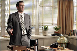 Run it up the flagpole: Jon Hamm is the standardbearer on AMC's Mad Men.