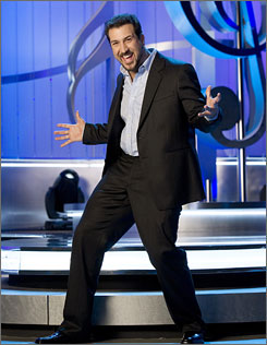 Bee there: Joey Fatone plays host as contestants try not to flub lyrics.