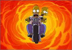 Homer and Bart Simpson launch a motorcycle through a wall of flames in The Simpsons Movie.