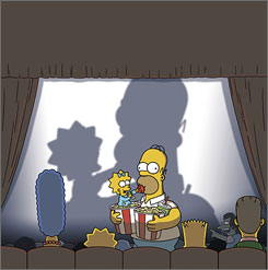 Grab the popcorn: The Simpsons head to the multiplex to watch their movie in this image created for USA TODAY. The Simpsons Movie opens Friday.