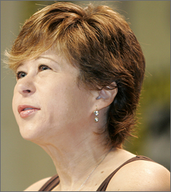 Yeardley Smith, the voice of Lisa Simpson on The Simpsons, speaks to the crowd during the third day of the Comic-Con convention in San Diego, Saturday.