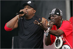 On the main stage: Public Enemy's Chuck D and Flavor Flav.