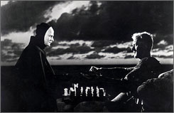 The Seventh Seal: Death, left, played by Bengt Ekerot, engages in a high-stakes game of chess with the knight Antonius Block (Max von Sydow) in the 1957 film.