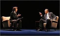 Michael Sheen, left, stars as David Frost, while Frank Langella takes on Richard Nixon in Frost/Nixon.