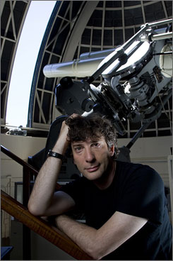 Science and magic: Author Neil Gaiman is equally at home at the Griffith Observatory and in the fantasy world of his adult fairy tale Stardust, which features an irate fallen star in comely female form.