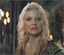 Aging before your eyes: Michelle Pfeiffer plays the witch Lamia, who is obsessed with restoring her youth. But her beauty is gradually taken away as she uses her powers. First, aging spots and veins appeared. Then came the jowls and drooping breasts. &quot;We had ... these discussions on whether it was my left or right breast that would droop. It's so bizarre to have a meeting on that,&quot; Pfeiffer says.