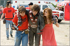 That's gotta hurt: Bill Hader, left, Andy Samberg and Isla Fisher.