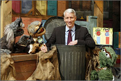 In the can: Walter Cranky, Dan Rather-Not, Anderson Cooper, Oscar the Grouch.