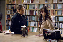 Come here often?: David Duchovny plays a roguish writer who hits on every woman in sight, including Madeline Zima, right.