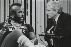 No fool: Griffin interviews '80s TV star Mr. T for The Merv Griffin Show, which ran from 1962 to 1986.
