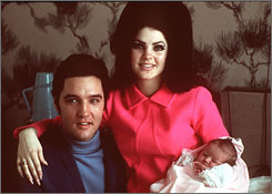 "In 1968: Presley with his wife, Priscilla, a few days after daughter Lisa Marie's birth at Baptist Hospital in Memphis. Priscilla says 1968 to 1972 ""were the years I remember him being the happiest."""