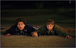 "No entry: Socially clumsy friends Jonah Hill, left, and Michael Cera try to get into the ""cool"" party."