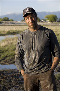 Yak yuk: Dirty Jobs host Mike Rowe at Spring Brook yak ranch in Kalispell, Mont.