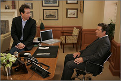 Digital guest star: But the real Jerry Seinfeld shows up to face Jack (Alec Baldwin) on 30 Rock.