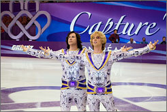 Gliding onto DVD: Will Ferrell, left, and Jon Heder are figure skaters who partner up and shoot for the stars in Blades of Glory.