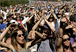 Summer of Love devotees rock out at the 40th anniversary concert at Golden Gate Park in San Francisco on Sunday.