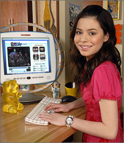 These kids are wired: Carly (Miranda Cosgrove) and her friends create webcasts on iCarly, both of which will use videos submitted by viewers.